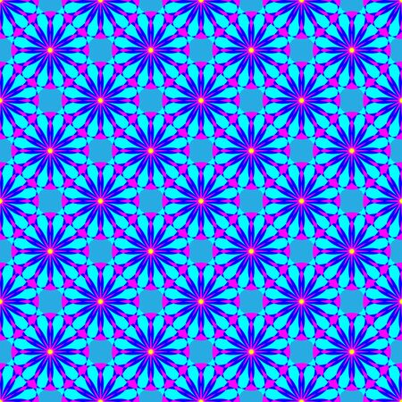Abstract floral seamless pattern on the blue background Illustration