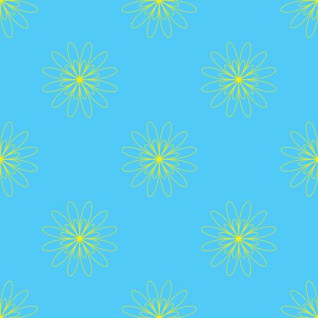Seamless floral pattern on the cyan background