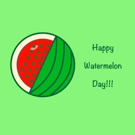 National Watermelon Day card at the light green background Illustration