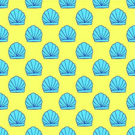 Seamless seashell pattern on the yellow background