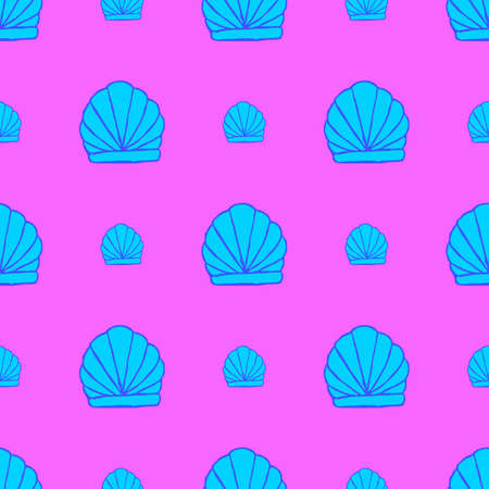 Seamless seashell pattern on the pink background