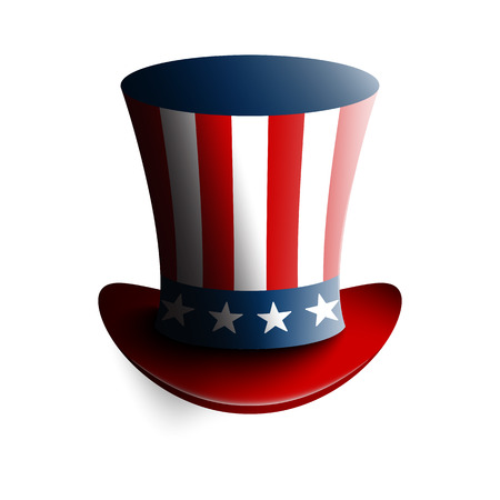 Uncle Sams hat. Symbol of freedom and liberty. Isolated on white background. Stock vector