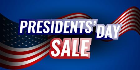 アメリカのフラグと星の背景を持つ大統領の日セール バナー。