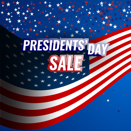 Presidents Day Sale banner with american flag and stars background. Stock Vector - 78685130