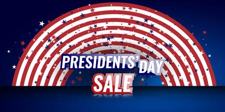 Presidents Day Sale banner with american flag and stars background.