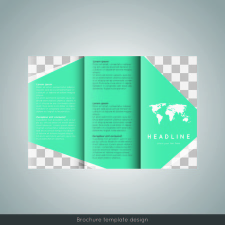 Tri-fold brochure template design. Corporate booklet. Stock vector.