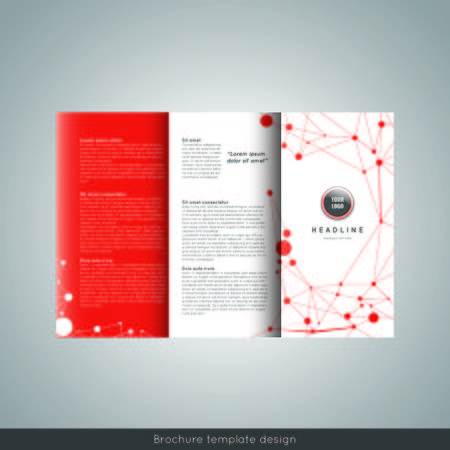Corporate trifold brochure template design. Connection abstract background. With world map infographic element and place for photo