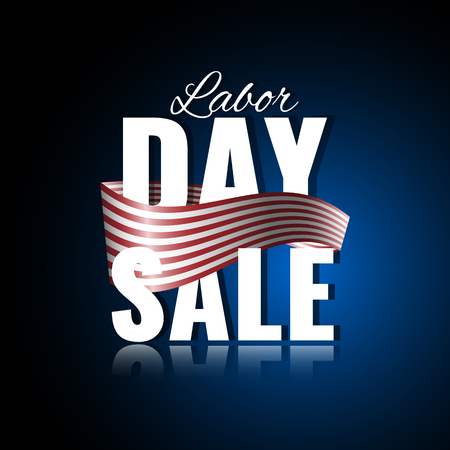 nationalism: Labor Day sale. Abstract background with waving ribbon and reflection.