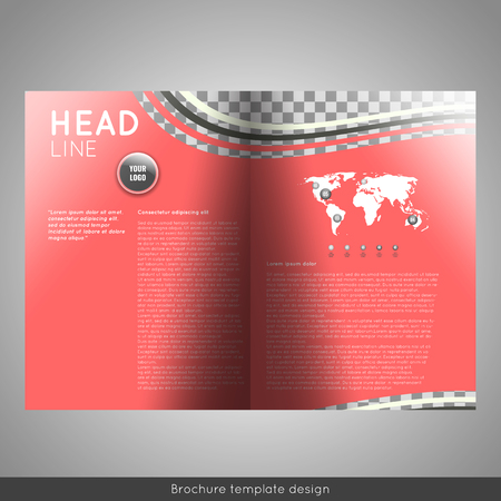 corporation: Bifold business brochure template design.