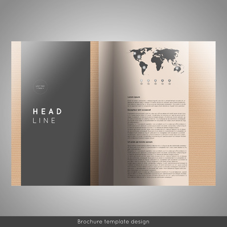 business bifold brochure template with cardboard background texture
