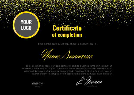 exclusive: Certificate of completion - appreciation, achievement, graduation, diploma or award - with the reflection on the black background.