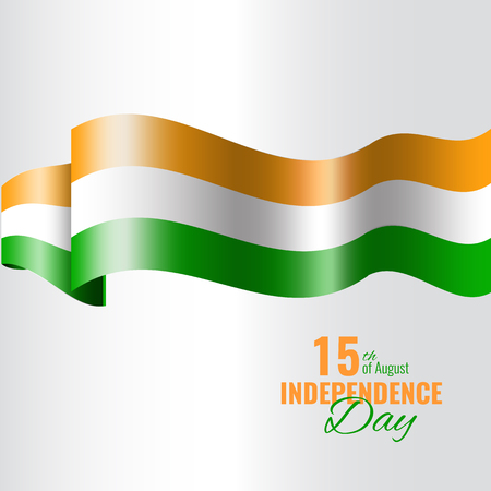 26: Indian Independence Day concept background. Holiday banner with waving flag.