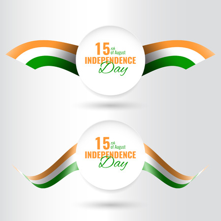 Indian Independence Day concept background. Holiday banner with waving flag.