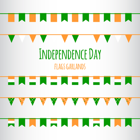 nationalism: Indian Independence Day flags garlands set.