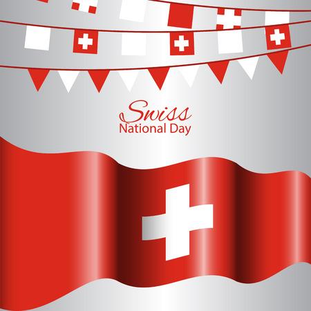Abstrait de concept de fête nationale suisse avec agitant le drapeau. Banque d'images - 81758418