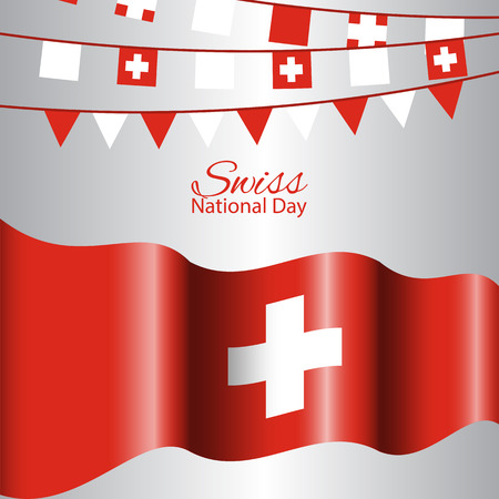 Swiss National Day concept abstract background with waving flag.