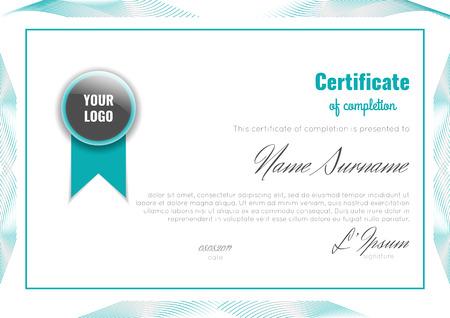 成就证书(完成,升值,毕业,文凭或奖励)与连接抽象背景。