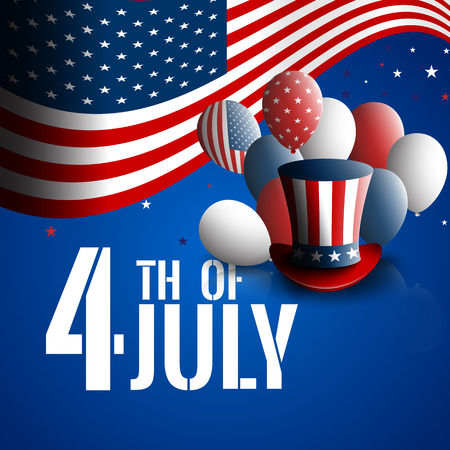 Fourth of July. Independence day of the USA. Holiday background with patriotic american signs - presidents hat, balloons, stars and stripes.