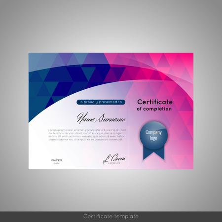 stock certificate: Certificate of achievement (completion, appreciation, graduation, diploma or award) with connection abstract background. Stock Photo