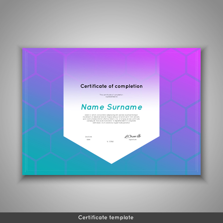 stock certificate: Certificate of completion - appreciation, achievement, graduation, diploma or award with funny geometrical scandinavian pattern with lines. Stock vector.