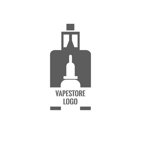 Vape store logo template design. E-cigarette and e-liquid bottle stamp or T-shirt print.