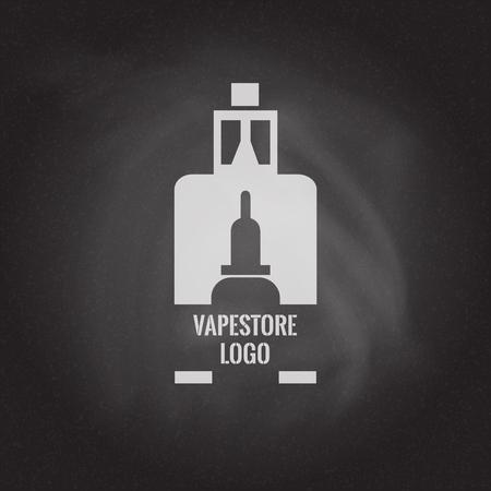 Vape store logo template design on the blackboard background. E-cigarette and e-liquid bottle stamp or T-shirt print.