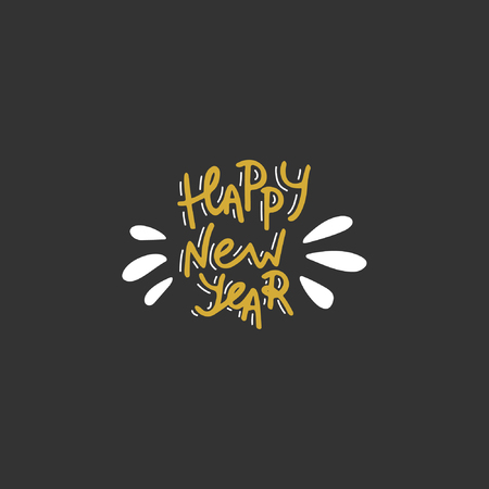Happy New Year. Hand drawn lettering