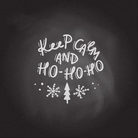 Keep calm and Ho-Ho-Ho. Hand drawn lettering Stock Photo