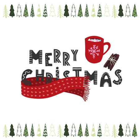 Merry Christmas hand drawn hot cocoa or chocolate cup with marsmellows. Holiday card. Stock vector