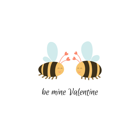 Be mine Valentine. Hand drawn cute bees in love. Valentines Day card template. Stock vector