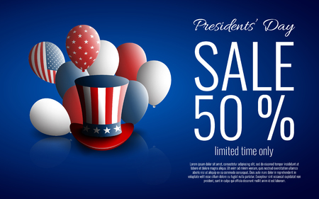 Presidents Day Sale banner with presidents hat