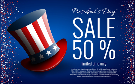 Presidents' Day Sale banner with president's hat. Stock vector.