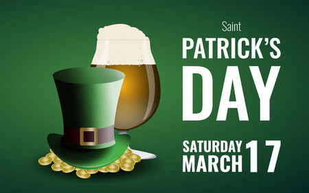 St.Patricks Day background with beer, leprechauns hat and gold. Stock vector
