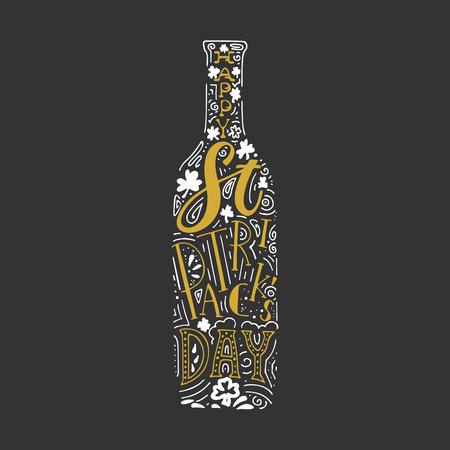 St. Patricks Day hand written lettering beer bottle poster Illustration