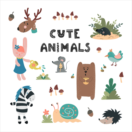 Cute wild animals hand drawn set. Bear, rabbit, mole, owl, deer, snail, mouse. Design for childrens decoration, nursery room, book, greeting card, apparel. Ilustração