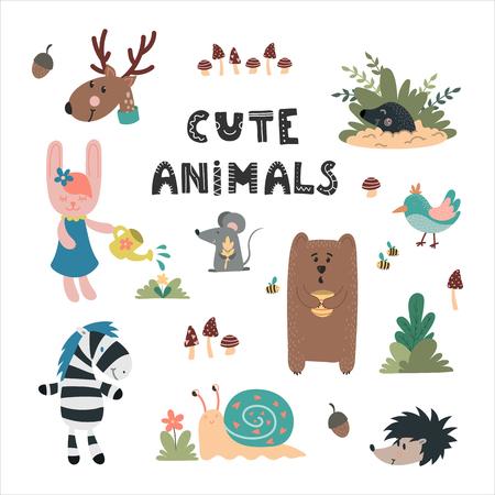 Cute wild animals hand drawn set. Bear, rabbit, mole, owl, deer, snail, mouse. Design for childrens decoration, nursery room, book, greeting card, apparel. Vettoriali