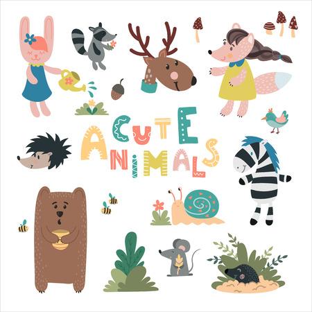 Cute wild animals hand drawn set. Bear, rabbit, mole, owl, deer, snail, mouse. Design for childrens decoration, nursery room, book, greeting card, apparel. Ilustracja