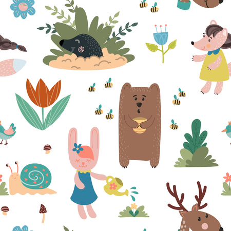 Animals hand drawn seamless pattern. Bear, rabbit, mole, owl, deer, snail, mouse. Design for childrens decoration, nursery room, book, greeting card, apparel.