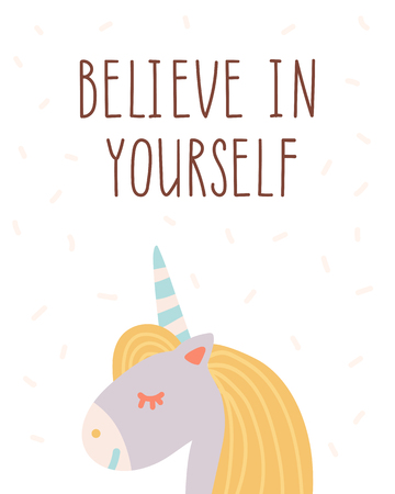 Believe in yourself. Motivational and inspirational poster for kids room. Illustration