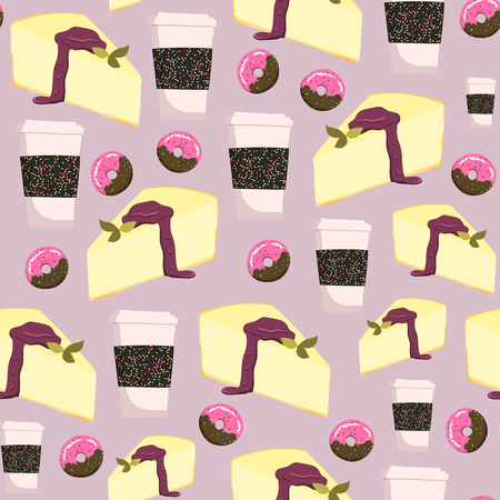 Seamless pattern with cheesecake, coffee cups and donuts. Stock vector