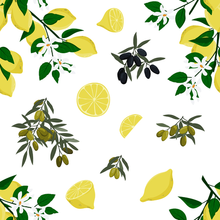 Seamless olives and lemons pattern. Hand drawn background. Stock vector