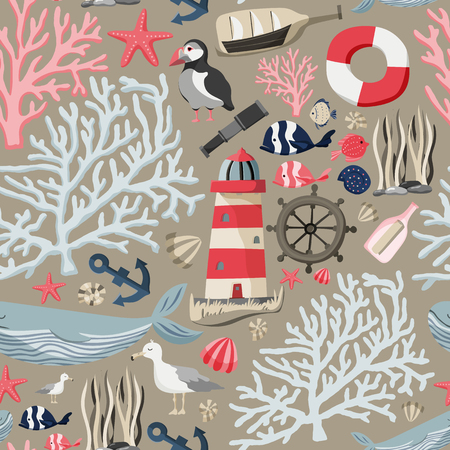 Seamless sea pattern with fishes, anchor, corals, lighthouse, whale, atlantic puffin etc. Ocean background Stock vector Banque d'images - 114783772
