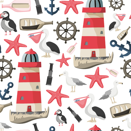 Seamless sea pattern with fishes, anchor, corals, lighthouse, whale, atlantic puffin etc. Ocean background Stock vector Banque d'images - 114783776