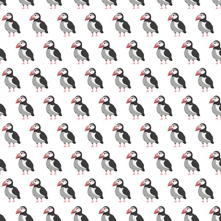 Atlantic puffin seamless pattern. Fabric background, apparel, linen, wrapping Stock vector Illustration