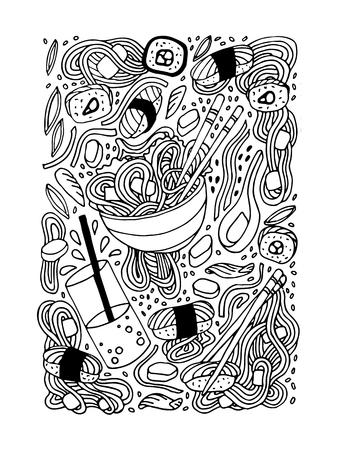 Ramen y sushi estilo doodle ilustración dibujada a mano. Comida japonesa. Cocina asiática. Stock vector Ilustración de vector