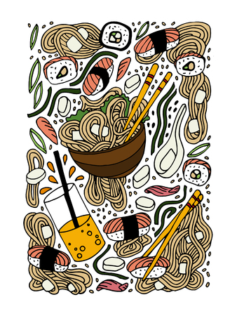 Ramen and sushi doodle style hand drawn colored illustration. Japanese food. Asian cuisine. Stock vector