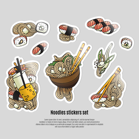Japanese food stickers. Ramen and sushi doodle style. Asian cuisine. Stock vector