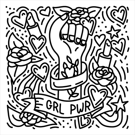 Girl power hand drawn doodle feminist poster with womans fist. Stock vector Stock Illustratie