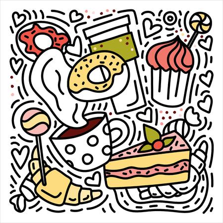 Bonbons doodles illustration dessinée à la main avec beignets, croissants, café, etc.