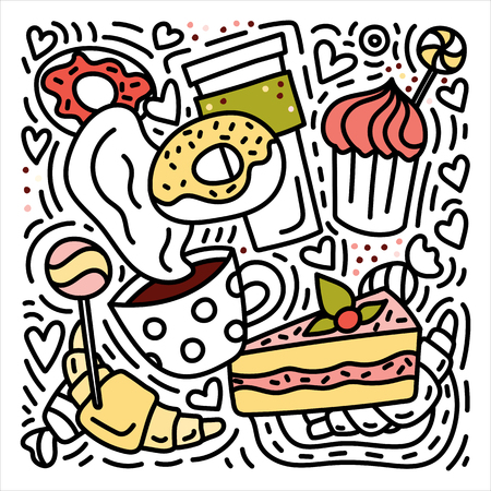 Sweets doodles hand drawn illustration with donuts, croissants, coffee etc. Stock vector